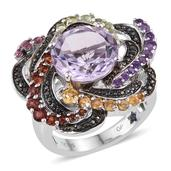 GP Rose De France Amethyst, Multi Gemstone Platinum Over Sterling Silver Ring (Size 8.0) TGW 7.680 cts.