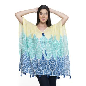 Blue and Teal 100% Cotton V-Neck Poncho with Tassels (Free Size)