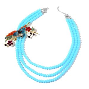 Blue Glass, Multi Color Austrian Crystal, Enameled Silvertone Sparrow Brooch With Multi Strand Bead Necklace (22 in)
