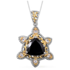 Thai Black Spinel, White Topaz 14K YG and Platinum Over Sterling Silver Pendant With Chain (18 in) TGW 7.220 Cts.