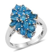Malgache Neon Apatite, White Topaz 14K YG and Platinum Over Sterling Silver Ring (Size 6.0) TGW 3.080 cts.