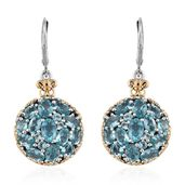 Madagascar Paraiba Apatite 14K YG and Platinum Over Sterling Silver Lever Back Earrings TGW 7.57 cts.