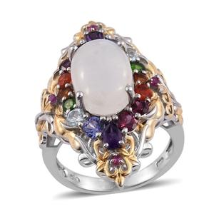 Sri Lankan Rainbow Moonstone, Multi Gemstone 14K YG and Platinum Over Sterling Silver Elongated Ring (Size 8.0) TGW 9.110 cts.