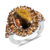 Bumble Bee Jasper, Brazilian Citrine Platinum Over Sterling Silver Ring (Size 6.0) TGW 9.00 cts.