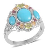 Arizona Sleeping Beauty Turquoise, Multi Gemstone Sterling Silver 3 Stone Openwork Ring (Size 9.0) TGW 3.200 cts.