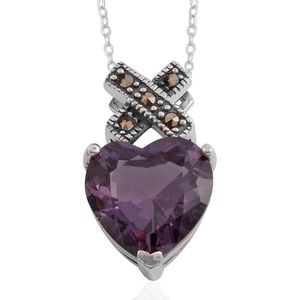 Simulated Purple Diamond, Swiss Marcasite Sterling Silver Pendant with Chain (18 in) TGW 9.880 Cts.