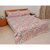 Red and Aqua Floral Print Microfiber Quilt and Set of 2 Shams (Queen)