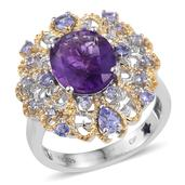 GP Amethyst, Tanzanite, Kanchanburi Blue Sapphire 14K YG and Platinum Over Sterling Silver Pierced Ring (Size 10.0) TGW 5.160 cts.