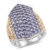Tanzanite 14K YG and Platinum Over Sterling Silver Cluster Ring (Size 5.0) TGW 4.550 cts.