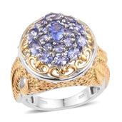 Tanzanite 14K YG and Platinum Over Sterling Silver Openwork Ring (Size 5.0) TGW 2.660 cts.