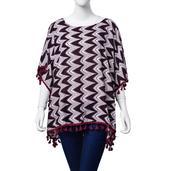 Marsala Zigzag Print 100% Viscose Kimono with Maroon Tassels