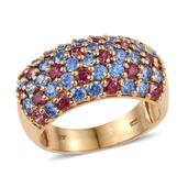 J Francis - 14K YG Over Sterling Silver Ring Made with Multi Color SWAROVSKI ZIRCONIA (Size 8.0) TGW 5.740 cts.