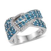Malgache Neon Apatite, White Zircon Platinum Over Sterling Silver Ring (Size 10.0) TGW 2.440 cts.