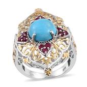 Arizona Sleeping Beauty Turquoise, Ruby 14K YG and Platinum Over Sterling Silver Openwork Ring (Size 7.0) TGW 6.35 cts.