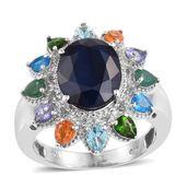 Kanchanaburi Blue Sapphire, Multi Gemstone Platinum Over Sterling Silver Ring (Size 8.0) TGW 8.15 cts.