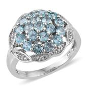Madagascar Paraiba Apatite, White Topaz Platinum Over Sterling Silver Cluster Ring (Size 7.0) TGW 2.47 cts.