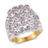 Madagascar Pink Sapphire 14K YG and Platinum Over Sterling Silver Open Cluster Ring (Size 7.0) TGW 2.85 cts.
