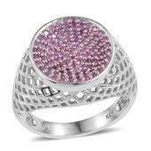 Madagascar Pink Sapphire Platinum Over Sterling Silver Openwork Signet Ring (Size 9.0) TGW 0.90 cts.