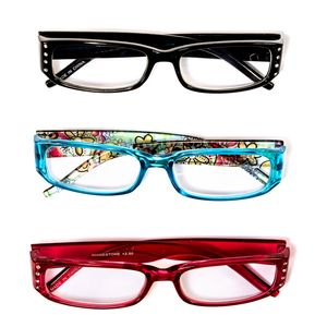 Set of 3 Floral Print and Rhinestone Readers Glasses + 2.0