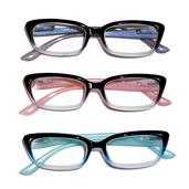 Multi Color Ombre Reading Glasses 2.5 Diopter - 3 Pairs