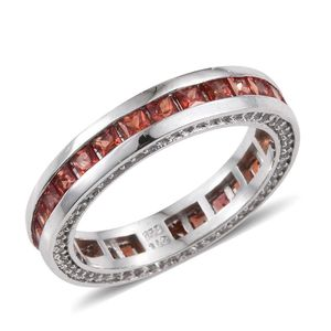 Orange Sapphire, White Topaz Platinum Over Sterling Silver Eternity Band Ring (Size 6.0) TGW 3.15 cts.