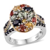Multi Sapphire 14K YG and Platinum Over Sterling Silver Cluster Ring (Size 6.0) TGW 3.580 cts.