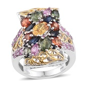 Multi Sapphire 14K YG and Platinum Over Sterling Silver Ring (Size 7.0) TGW 6.570 cts.