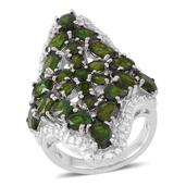 Russian Diopside Sterling Silver Openwork Elongated Ring (Size 9.0) TGW 9.62 cts.