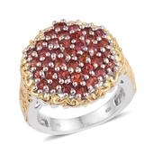 Sunset Sapphire 14K YG and Platinum Over Sterling Silver Engraved Cluster Ring (Size 7.0) TGW 4.260 cts.