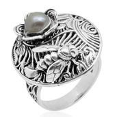 Pearl Expressions Freshwater Pearl Sterling Silver Round Engraved Ring (Size 6.0) TGW 2.750 cts.