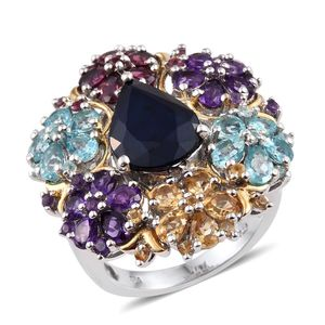 Kanchanaburi Blue Sapphire, Multi Gemstone 14K YG and Platinum Over Sterling Silver Statement Floral Cluster Ring (Size 8.0) TGW 11.94 cts.