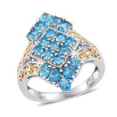 Malgache Neon Apatite, Diamond Accent 14K YG and Platinum Over Sterling Silver Elongated Ring (Size 5.0) TDiaWt 0.02 cts, TGW 2.620 cts.