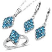 Malgache Neon Apatite Platinum Over Sterling Silver Lever Back Earrings, Ring (Size 9) and Pendant With Chain (20 in) TGW 3.000 cts.
