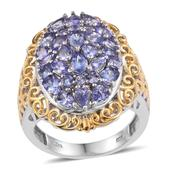 Tanzanite 14K YG and Platinum Over Sterling Silver Cluster Ring (Size 5.0) TGW 3.33 cts.