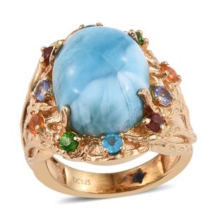 GP Larimar, Multi Gemstone 14K YG Over Sterling Silver Ring (Size 6.0) TGW 11.000 cts.