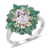 XIA Kunzite, Kagem Zambian Emerald 14K YG and Platinum Over Sterling Silver Ring (Size 7.0) TGW 4.700 cts.