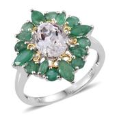 XIA Kunzite, Kagem Zambian Emerald 14K YG and Platinum Over Sterling Silver Ring (Size 8.0) TGW 4.700 cts.