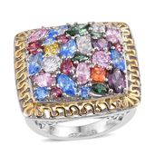 J Francis - 14K YG and Platinum Over Sterling Silver Statement Ring Made with Multi Color SWAROVSKI ZIRCONIA (Size 7.0) TGW 9.78 cts.