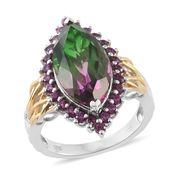 Watermelon Quartz, Orissa Rhodolite Garnet 14K YG and Platinum Over Sterling Silver Ring (Size 9.0) TGW 10.50 cts.