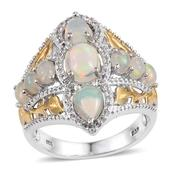 Ethiopian Welo Opal, White Topaz 14K YG and Platinum Over Sterling Silver Ring (Size 7.0) TGW 3.17 cts.