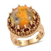 Bumble Bee Jasper, Brazilian Citrine, Mozambique Garnet 14K YG Over Sterling Silver Statement Ring (Size 8.0) TGW 12.680 cts.