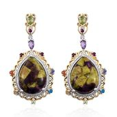 Tasmanian Stichtite, Multi Gemstone 14K YG and Platinum Over Sterling Silver Earrings TGW 24.890 Cts.