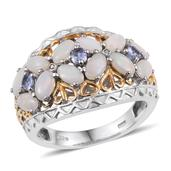 Australian White Opal, Tanzanite, Diamond Accent 14K YG and Platinum Over Sterling Silver Openwork Ring (Size 5.0) TDiaWt 0.01 cts, TGW 1.720 cts.