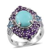 Sonoran Blue Turquoise, Electric Blue Topaz, Amethyst Platinum Over Sterling Silver Ring (Size 10.0) TGW 7.470 cts.
