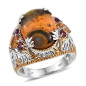 Bumble Bee Jasper, Brazilian Citrine, Orissa Rhodolite Garnet 14K YG and Platinum Over Sterling Silver Ring (Size 7.0) TGW 11.350 cts.