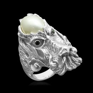 Pearl Expressions Mabe Pearl, Simulated Black Diamond Sterling Silver Dragon Head Ring (Size 6.0) TGW 0.15 cts.