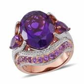Amethyst 14K RG Over Sterling Silver Cocktail Ring (Size 9.0) TGW 11.360 cts.