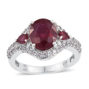 Niassa Ruby, White Topaz Platinum Over Sterling Silver Ring (Size 9.0) TGW 6.180 cts.