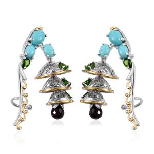 Mozambique Garnet, Sonoran Blue Turquoise, Russian Diopside 14K YG and Platinum Over Sterling Silver Ear Cuff Earrings TGW 8.18 cts.