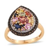 Multi Sapphire, Brazilian Smoky Quartz, White Topaz 14K YG Over Sterling Silver Ring (Size 10.0) TGW 3.535 cts.